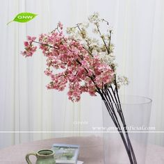 "Wreath Centerpiece Cherry Blossom Flowers    20"" Stem Pink Bouquet Vase"