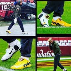 """Odell wore these Charlie Brown cleats and added this to it """"The moment I stop having is the moment I'm calling it quits"""""""