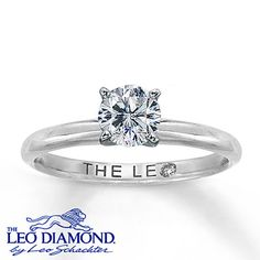 Handcrafted by the diamond artisans at Leo Schachter, this fine jewelry ring is stunning. The ring features a near-colorless round 3/4 carat Leo diamond secured by platinum prongs and is set in high-polish 14K white gold. The Leo Diamond® is laser-inscribed with a unique Gemscribe® number.