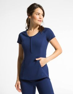 The Ponte Half Zip Top in Estate Navy Blue is a contemporary addition to women's medical scrub outfits. Shop Jaanuu for scrubs, lab coats and other medical apparel. Dental Uniforms, Nursing Uniforms, Scrubs Pattern, Medical Scrubs, Nurse Scrubs, Scrubs Outfit, Lab Coats, Nurse Costume, Nursing Clothes