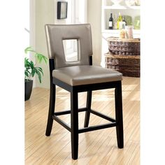 Furniture of America Vanderbilte 2-Piece Counter Height Open Back Dining Chairs - Black - IDF-3320PC