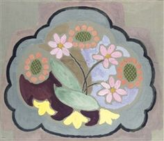 ✽   vanessa bell  -  'design for chair seat: flowers'   -  gouache and oil on paper   -  1930  -mutual art