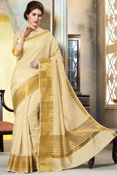 Kanchipuram Silk Saree in Off White Colour