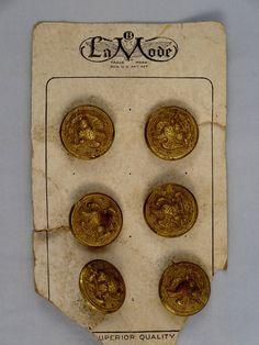 ButtonArtMuseum.com - Card of 6 Vintage Brass Buttons Eagle Anchor Stars Motif La Mode