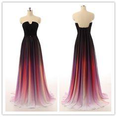 Gradient Prom Dresses,Chiffon Prom Dress,Strapless Prom dress,Cheap Prom Dress,Party Dress,BD396