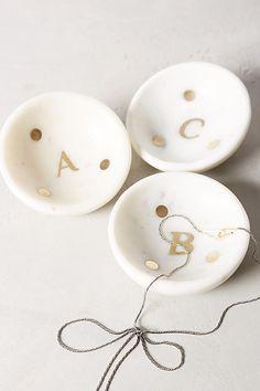 Slide View: 1: Marble Monogram Trinket Dish
