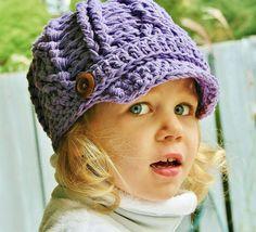 Girls Crochet Newsboy Hat Toddler Crochet Hat Cotton by rubywebbs, $30.00