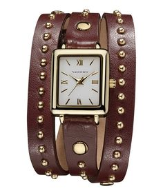 Take a look at this Gold & Brown Round Studded Triple-Wrap Watch on zulily today!