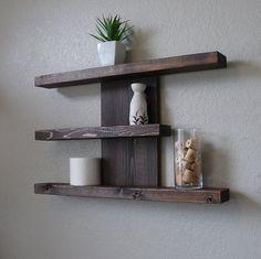 Home Decor: Rustic Modern 3 Tier Floating Shelf. Rustic Wall Shelves, Rustic Floating Shelves, Pallet Shelves, Rustic Walls, Shelf Wall, Floating Cabinets, Corner Shelf, Glass Shelves, Rustic Wood