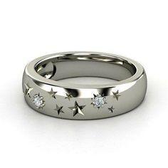 Anillo de plata con gravado de estrellas