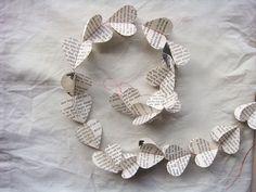 Book heart garland