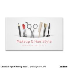Chic Hair stylist Makeup Tools & Brushes White Business Card