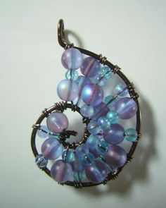 Blue and Purple Wire Wrapped Seashell