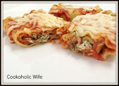 Cookaholic Wife: Spinach Lasagna Roll Ups