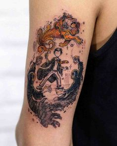 Harry Potter Tattoo Lion by Robson Carvalho Harry Potter Tattoos, Literary Tattoos, Love Tattoos, Beautiful Tattoos, Body Art Tattoos, Tatoos, Ink Master Tattoos, Tattoo Art, Tattoo Ideas