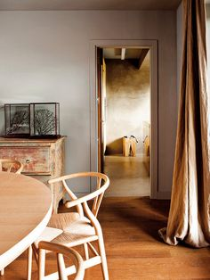 Spanish Interior by Alfons Tost, interesting rustic wall colour Contemporary Interior Design, Home Interior Design, Spanish Interior, Brown Curtains, Linen Curtains, Hans Wegner, Wooden Dining Tables, Wishbone Chair, My New Room
