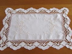 White Vintage Doily Laced Edge Embroidered by MomsGiftShoppe