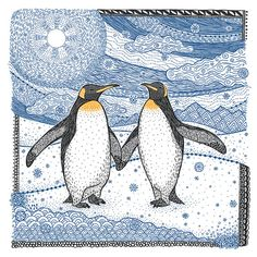 Penguins  Zentangle  Fine Art Print  Pen and by VNowellCreations