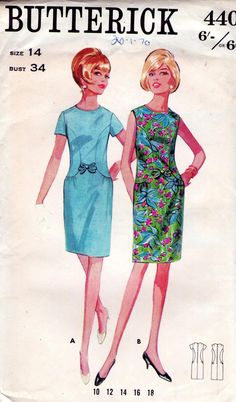 1960s Vintage Sewing Pattern - Fitted Dress with Curved Side detail