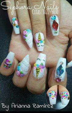 18 Trendy Ideas For Nails Acrilico Unicornio Hallographic Nails, Cute Gel Nails, Cute Nail Art, Acrylic Nails, Coffin Nails, Nails 2018, Nail Gel, Cute Halloween Nails, Cute Christmas Nails