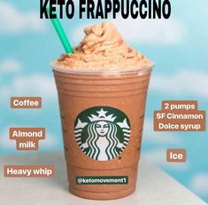 🙌💡Looking for more Ketolicious options at Starbucks? Try this delicious Keto Frappachino next time. Here's how to orde 🙌💡Looking for more Ketolicious options at Starbucks? Try this delicious Keto Frappachino next time. Here's how to orde Keto Diet Drinks, Low Carb Drinks, Keto Drink, Healthy Drinks, Healthy Iced Coffee, Keto Smoothie Recipes, Bebidas Do Starbucks, Low Carb Starbucks Drinks, Starbucks Recipes