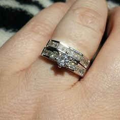 Victoria Wieck Charm Topaz Simulated Diamond Set Victoria Wieck Charm Topaz Simulated diamond wedding set. 10KT White Gold Filled engagement Wedding Band Ring Set. Size 7 Very beautiful....photos don't do any of my jewelry justice! Victoria Wieck Jewelry
