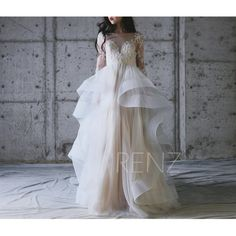 2017 Off White Mesh Wedding Dress with Long Sleeves, Ruffle Draped Bridal Train, Sweetheart Lace Illusion Prom Dress Beading Floor (LW213)