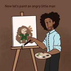 "fandom-wolf-doodles: ""Alright so in the last week of school I remember this person saying ""Bob ross"" and ""Thomas Jefferson"" in the same sentence, and I just remembered it and had to draw it. Hamilton Broadway, Hamilton Musical, Theatre Nerds, Musical Theatre, Theater, Fandoms, Hamilton Comics, Hamilton Puns, Hamilton Star"