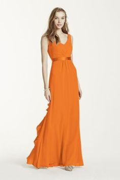 f6460c684fd Sleeveless chiffon dress with charmeuse banded empire waist