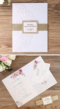 This floral wedding invitation kit features white laser cut Pearl paper pocket envelopes, Gold glitter belly band, Inner Sheets (blank paper), and RSVP Cards 20 pcs each.