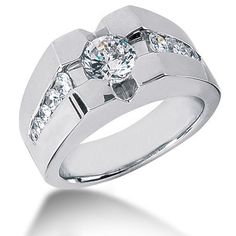 This Platinum Men's Diamond Ring features 1.72 carats of round diamonds (11 diamonds). The center diamond is 1ct. This men's diamond ring is available in Platinum, 18k or 14k yellow, rose, white gold, various sizes, and can be customized with any color and quality diamonds. Please note: it will take us 3-5 business days to make this ring for you so please plan accordingly. Please contact us at 212-398-3123 if your size or desired option is not listed.