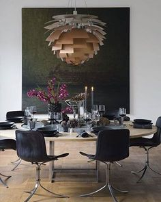 Amazing dining room with danish design classics by Poul Kjaerholm and Georg Jensen. The sculptural PH Artichoke Lamp from Louis Poulsen hangs over the dining table like a work of art. Dining Room Inspiration, Interior Design Inspiration, Rooms Ideas, Dining Room Lighting, Scandinavian Interior, Of Wallpaper, Dining Room Design, Danish Design, Room Set