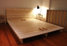 Platform bed | Do It Yourself Home Projects from Ana White. Can we add room for a twin so there is room for the boys in bed LOL