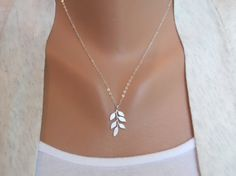 Leafy Necklace - white gray leaf pattern - sterling silver chain - morganprather