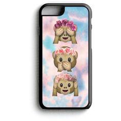 Monkey Floral Crown Emoji Phone Case iPhone Samsung ($4.99) ❤ liked on Polyvore featuring accessories, tech accessories and samsung