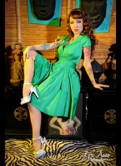Pinup Couture Collette Button Down Dress in Green Sateen with Matching Sash Belt