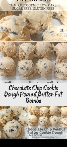 Chocolate Chip Cookie Dough Peanut Butter Fat Bombs - Recipes For Dinner Chocolate Chip Pound Cake, Chocolate Fat Bombs, Low Carb Chocolate, Chocolate Chip Cookie Dough, Gluten Free Chocolate, Chocolate Recipes, Peanut Butter Recipes, Almond Recipes, Cream Cheese Calories