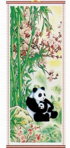 Panda Rattan Scroll Picture Asian Art Home Decor « Holiday Adds