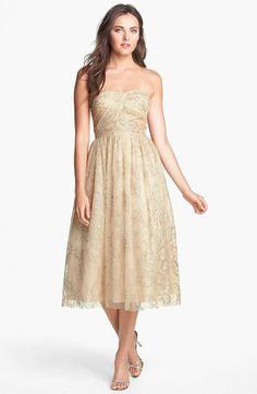 glitter print tulle fit & flare dress