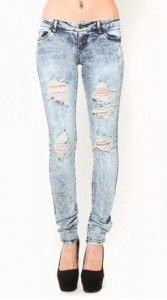 White Out Distress Skinny Jeans: This pair of mineral wash skinny jeans featuring a distressed look is a must have for those casual comfy days. Just add a warm sweater and you're ready to curl up with a good book.