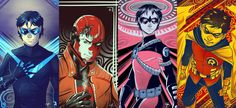 Robins Cards by MayhWolf on DeviantArt Fantasy Party, Dc Characters, Bat Family, Nightwing, Character Description, A Comics, Drawing Tools, Amazing Art, Robin