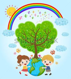 Children holding earth with love stock vector - 14386799 Save Environment, World Environment Day, Environment Concept Art, Earth For Kids, Save Our Earth, Art Drawings For Kids, Drawing For Kids, Save Earth Posters, Earth Day Drawing