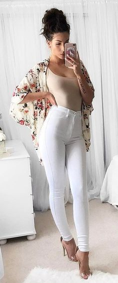 #summer #outfits  Ivory Floral Kimono + White Skinny Jeans + Transparent Sandals