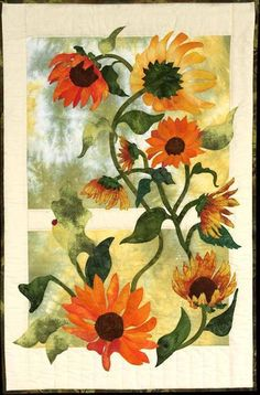 This beautiful quilt has a realistic sunflower design and is perfect to use as a wallhanging
