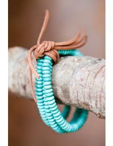 West & Co. Triple Strand Stretch Turquoise Bracelet with Brown Leather Tie