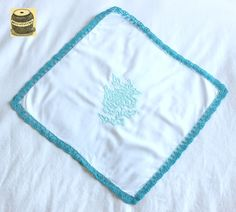 On Sale White cotton handkerchief with turquoise crocheted border and peony embroidered design. Handmade $14.24