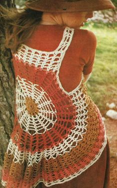 PastPerfectPatterns: Cobweb Circles Waistcoat Vest, vintage crochet pattern (for purchase on Etsy)