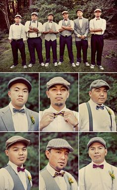 Mismatched groomsmen attire-I like esp if my bridesmaids are