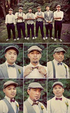 Mismatched groomsmen attire-I like esp if my bridesmaids are