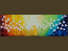 """Original Modern Abstract Heavy Texture Impasto Palette Knife Painting Flower Landscape""""Raising with the rainbow"""". $165.00, via Etsy."""